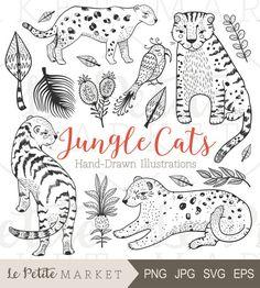 Hand Drawn Jungles Cats, Jungle Cat Clip Art, Tiger Clipart, Jungle Clipart, Tropical Clipart, Leopard Clip Art, Jungle Cat Digistamp, Cats