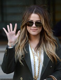 Khloe Kardashian long ombre hair
