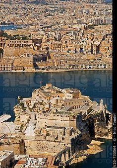 St.Angel Fort y Valletta, Vista cenital, Isla de Malta, la República de Malta