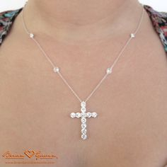 In House Neck Shot of Another Shot of Jen's Brian Gavin Custom Diamond Cross Pendant and DBTY Chain