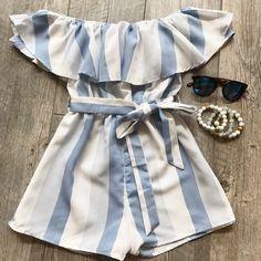 Stripe OTS romper Cute Summer Outfits, Cute Casual Outfits, Pretty Outfits, Pretty Dresses, Spring Outfits, Girls Fashion Clothes, Teen Fashion Outfits, Kids Dress Wear, Cute Rompers