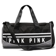 PINK Sport Duffle (615 MXN) ❤ liked on Polyvore featuring bags, luggage, bolsa, blue and duffel bags