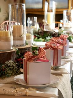 Christmas Tablescape- like the wood tree stumps