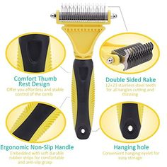 Amazon.com: WOLFWILL Pet Dematting Comb Tool Kit, Double Sided 12+23 Rake, Safe Arc Blade, Gently Remove Loose Undercoat Mats & Tangles for Dogs & Cats: Sports & Outdoors