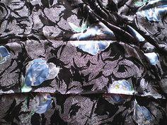 Vintage Italian Pure Silk Dress Fabric in Retro Black White Blue Design   eBay
