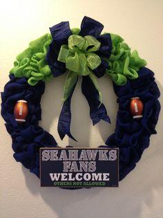 Burlap Seattle Seahawks wreath -- Custom Order https://www.facebook.com/pages/Kattfish-Kreations/659509324079375
