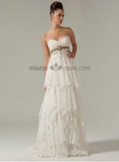 Empire waist Sweetheart Sheath Princess Court train Chiffon Wedding dress