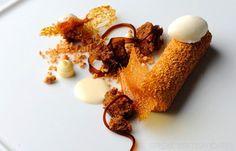 Prune Parfait, white chocolate ganache, marscapone ice cream.  Recipe - Great British Chefs