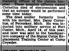Pvt Solomon F. Cornelius dies at Camp Crowder, 11 July 1942