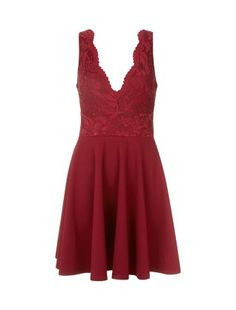 Burgundy Lace Contrast Deep V Skater Dress  | New Look