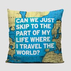 Can We Just - World Map - Throw Pillow - airportag