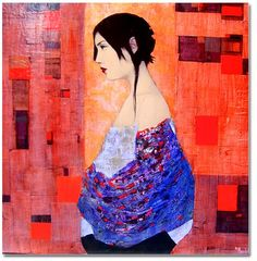 """Considered an abstract-figurative artist, the paintings created by Richard Burlet are born of an inspiration that is French by inclination and Viennese by influence. The complex imagery of Burlet's figurative paintings pays homage to a tradition in art that reigned supreme in Vienna in the late 1800s. The art, architecture and design of Vienna's """"Golden Age"""", and the highly praised works of Gustav Klimt, are the greatest influences to Burlet's artwork."""