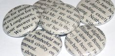 Literary Magnets -- should be easy enough to make, but do I have to cut up a book?! Photocopy!!  (use Photoshop to 'age' image)
