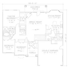 Floor Plan First Story.. I like the great room/kitchen/dining layout.  Have to see if the dining is large enough for Grandma's table.  Also like the laundry/mud room layout.  Needs a computer/craft room and a fourth bedroom.  Maybe add the mil room from my first favorite house plan