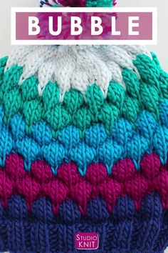 Learn how to Knit this super cute Bubble Stitch Beanie Hat with Knitting Pattern and video tutorial by Studio Knit. Learn how to Knit this super cute Bubble Stitch Beanie Hat with free Knitting Pattern and video tutorial by Studio Knit. Loom Knitting Projects, Loom Knitting Patterns, Knitting Videos, Knitting For Beginners, Free Knitting, Crochet Patterns, Loom Knitting Stitches, Baby Hats Knitting, Cross Stitches