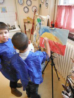 landschap schilderen. begrip horizon en begrippen veraf en dichtbij. voordoen met eigen gezicht laat de kinderen tussen hun vingers naar je gezicht kijken en kom dan langzaam dichterbij.