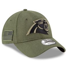 737e65c73 Youth Carolina Panthers New Era Olive 2018 Salute to Service Sideline  9TWENTY Adjustable Hat