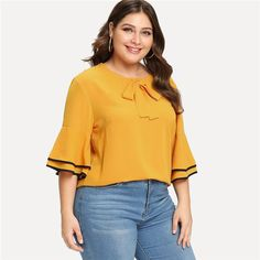 8819c9d4c67 Yellow Tiered Layer Ruffle Half Sleeve O Neck Casual Top Plus Size Casual