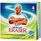 I love love mr.clean eraser, i have gotten stuff up that even bleach didn't get up, sticky stuff, perment stuff, cleaned must of our old condo with mr.clean products.