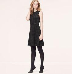 Faux Leather Trim Plaid Dress   Loft