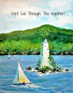 Social Distance Card, Sail Through This Together Greeting Card, Quarantine Card Lake Sunapee, Sailboat Art, Scandinavian Gnomes, Building Art, Christmas Gnome, Dog Paws, Blank Cards, Sailing, Fine Art Prints