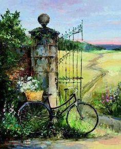 Resultado de imagem para Pinturas-By-Alexey Zaytsev Watercolor Landscape, Landscape Paintings, Watercolor Paintings, Bicycle Painting, Bicycle Art, Pictures To Paint, Art Pictures, Images D'art, Beautiful Paintings