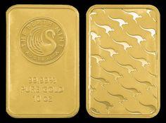 "Perth Mint Gold Bar  10 oz Perth Mint ""kangaroo"" gold bar.  Actual bar size - 58mm x 37mm"