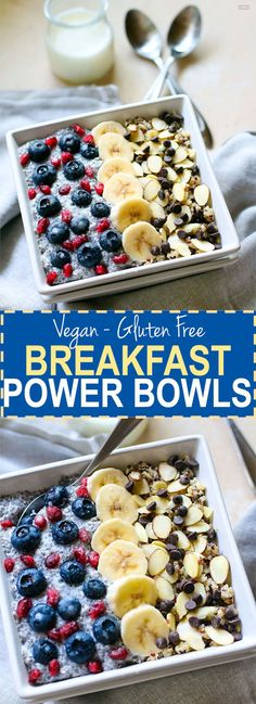 Gluten Free Breakfast Power Bowls! Real energy from real food! These vegan gluten free breakfast power bowls are made with soaked quinoa and chia seed. The proper preparation for these antioxidant rich bowls can help POWER you through the day! Oh and they are SUPER delicious.