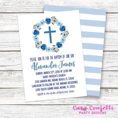 Blue Boy Baptism Christening Invitation, Watercolor Floral Wreath Cross Boho Stripe Invite, First Communion, Printed or Printable Invitation