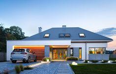 Projekt domu Hiacynt on Behance Modern Bungalow Exterior, Modern Bungalow House, Dream House Exterior, House Plans Mansion, Barn House Plans, Dream House Plans, Modern Family House, Modern House Design, Architect Design House