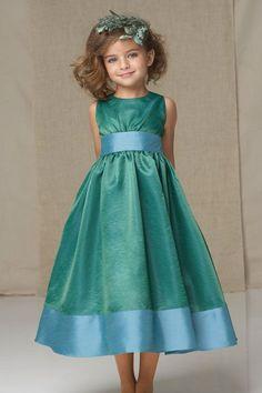 High neck empire waist with ruffle taffeta dress for flower girl - My wedding ideas