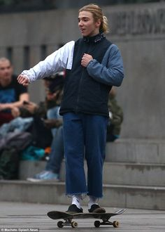 Fun day: Rocco Ritchie showed off his skateboarding skills in Torino, Italy on Thursday