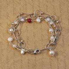 Silver & freshwater pearl bracelet