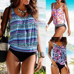 Sexy Summer Digital Print Swimwear Tankini Set
