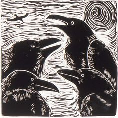 "Love this Linocut!! ""Raven Clan"" by robbinsprintmarks"