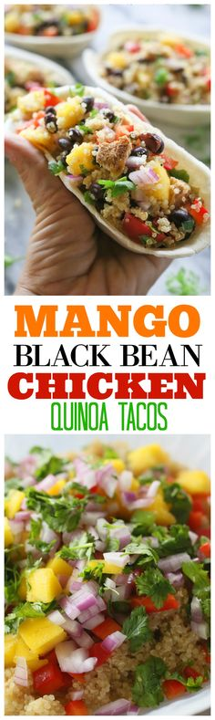 Mango Black Bean Chicken Quinoa Bowls | the-girl-who-ate-everything.com