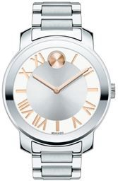 Just found amazing new website MassGenie. Price drops when you Crowd shop. $323.99, Save 35% - Silver sunray with rose gold tone dot and hands dial. - Movado