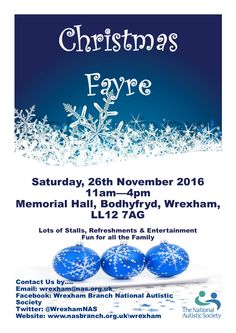 Christmas Fayre from The Wrexham Branch of the NAS - EventsnWales, Join the Wrexham Branch of the NAS helping raise awareness & funds to support the Charity