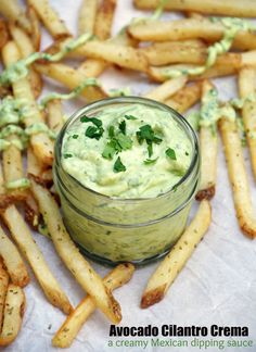 Avocado Cilantro Crema is a tangy and delicious Mexican Dipping Sauce. Delicious on Tacos or just to dip French Fries in!
