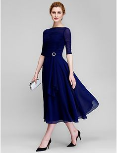 Lan Ting A-line Mother of the Bride Dress - Dark Navy Tea-length Half Sleeve Chiffon 2016 - $89.99