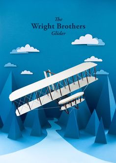 The Wright Brothers Glider, paper craft illustration by Sherman Chia, via Behance