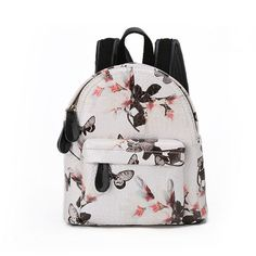 White Fashion Floral Mini Backpack BG1500017-2 ($90) ❤ liked on Polyvore featuring bags, backpacks, white, backpacks bags, mini leather backpack, leather rucksack, floral backpack i floral rucksack