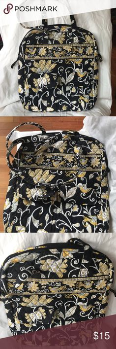 Vera Bradley Quilted Fabric Tote Bag, Never Used Medium-sized Vera Bradley Quilted Fabric Tote Bag in black, yellow, grey, and cream floral print. Zipper top. Never Used (just not my style; was  a gift from my mother a few years back). Dimensions: 14 inches high, 12 inches wide, 2 inches deep, with two 9-inch-drop handles. Two front flap, snap-closure pockets (slight folding on left one). One back full-width zipper pocket. One large interior zipper pocket. Three interior slip-in pockets…