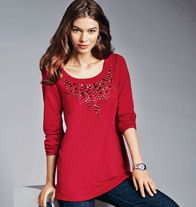 Embellished Top- A cozy terry pullover top with a flattering tunic-length and faceted jewel-like embellishments. Regularly $24.99, buy Avon Fashion online at http://eseagren.avonrepresentative.com