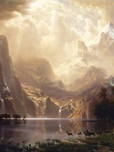 "slojnotak: "" Albert Bierstadt - Among the Sierra Nevada, California "" Fantasy Landscape, Landscape Art, Landscape Paintings, Fantasy Art, Oil Paintings, Albert Bierstadt Paintings, Hudson River School Paintings, Environment Painting, Illustration Art"