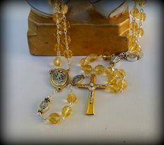 Gold Rosary, Saint Michael the Archangel, Guardian Angel, Fire Polished Czech Glass Rosary by RaesSpirit on Etsy