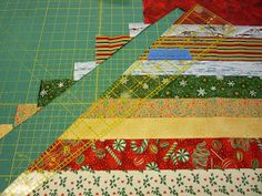 Cutting the Wedges. You need to cut at least 8 wedges from each of your strip sets to obtain the correct number of wedges for the tree sk. Christmas Quilting Projects, Christmas Sewing, Christmas Sheets, Christmas Decor, Christmas Ideas, Christmas Tree Skirts Patterns, Ribbon Quilt, Bargello Quilts, Quilting Rulers
