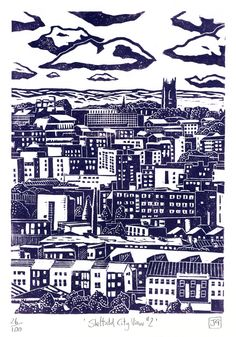 This is a hand-pressed linocut print entitled 'Sheffield City View printed in dark purple. Seventh in my series of Sheffield views. This is a view of the city centre looking from the Pitsmoor / Rutland Road part of town. Linocut Prints, Poster Prints, Art Prints, Sheffield Art, Monuments, Gravure Illustration, Linoleum Block Printing, Etching Prints, Cityscape Art