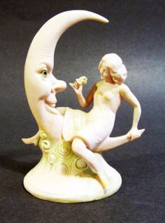 Antique-German-Bisque-Schafer-Vater-Lady-Astride-Crescent-Moon-Beautiful