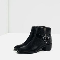 ZARA - WOMAN - LEATHER HIGH HEEL ANKLE BOOTS WITH DETAIL